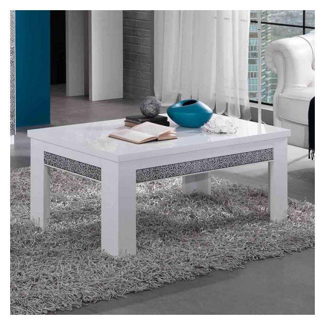 Dansmamaison Table basse rectangulaire laqué Blanc - Crac - L 110 x l 60 x H 43 cm