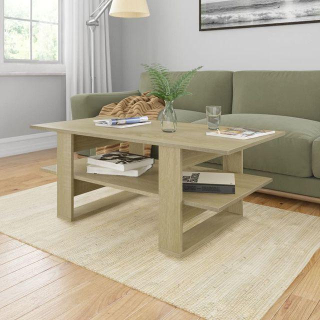 Vidaxl Table Basse Chêne Sonoma Aggloméré Table d'Appoint Salon Canapé Maison