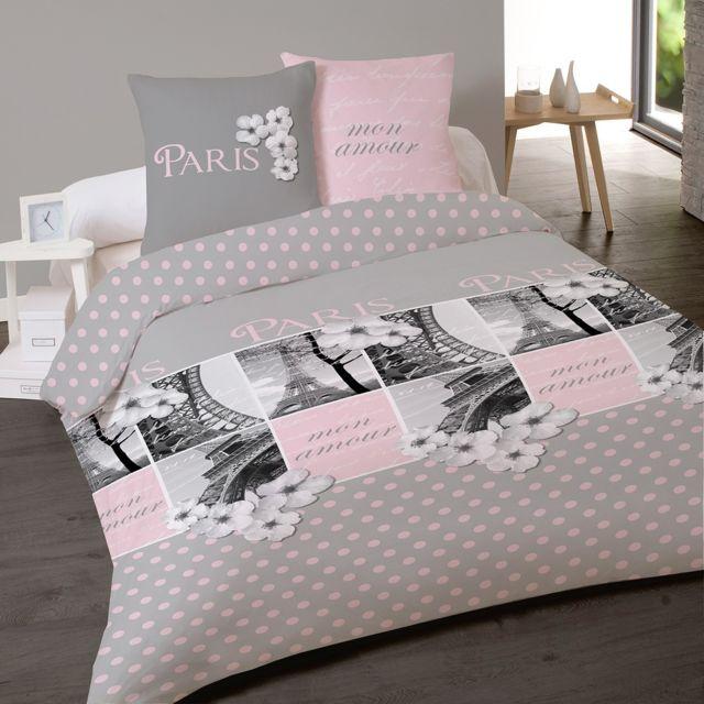 dourev housse de couette 200x200 paris amour 2 taies 100 coton flanelle pas cher achat. Black Bedroom Furniture Sets. Home Design Ideas