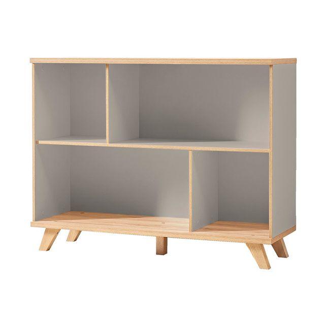 Marque Generique - Armoire de bureau en bois piètement chêne 4 niches Hauteur 91 cm Oslo - Gris pierre/chêne 0cm x 0cm x 0cm