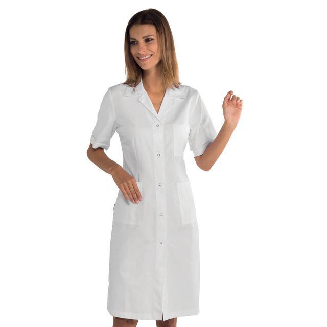 de69cd888e Isacco - Blouse blanche médicale boutons pression 100% coton - pas ...