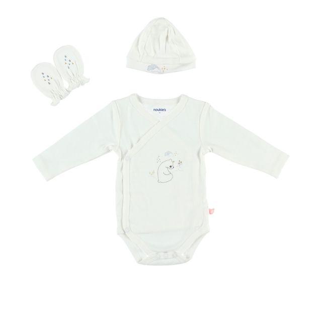 Kit de naissance body, bonnet et gants