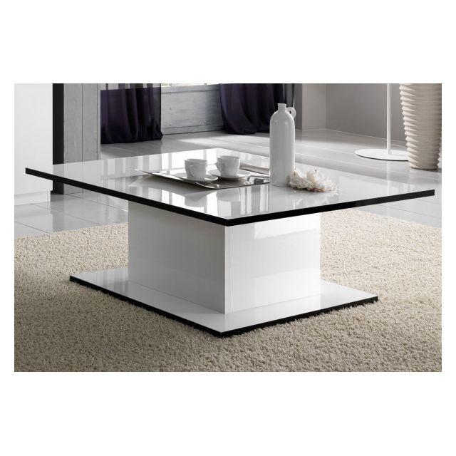 Dansmamaison Table basse rectangulaire laquée Blanc - Cross - L 110 x l 60 x H 43 cm
