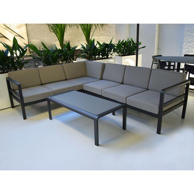 Gecko Jardin - Salon de jardin d\'angle en aluminium Icon Gris - pas ...