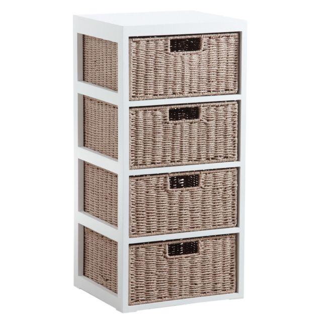 AUBRY GASPARD Commode 4 tiroirs en bois et papier cordé