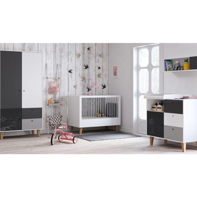 Vox Chambre complète lit évolutif 70x140 - commode à langer - armoire 2 portes Concept - Noir