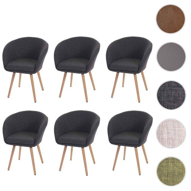 Mendler 6x chaise de salle à manger Malmö T633, fauteuil, design rétro des années 50 ~ tissu, gris