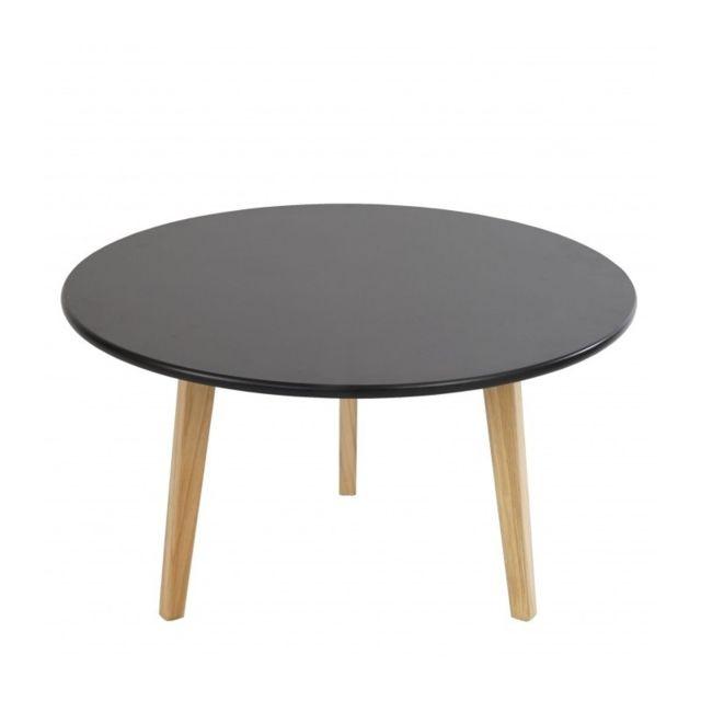 Autre Table basse ronde table d appoint design rétro 45x80 noir Taba04001 84846fb1d54b