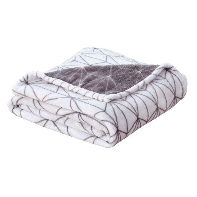 SOLDES Tapis Plaid Couverture Couverture Plaid 130x170cm Coton Gris-Blanc