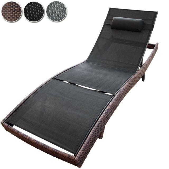 Helloshop26 - Transat bain de soleil lit de jardin chaise longue rotin luxe marron 2201038