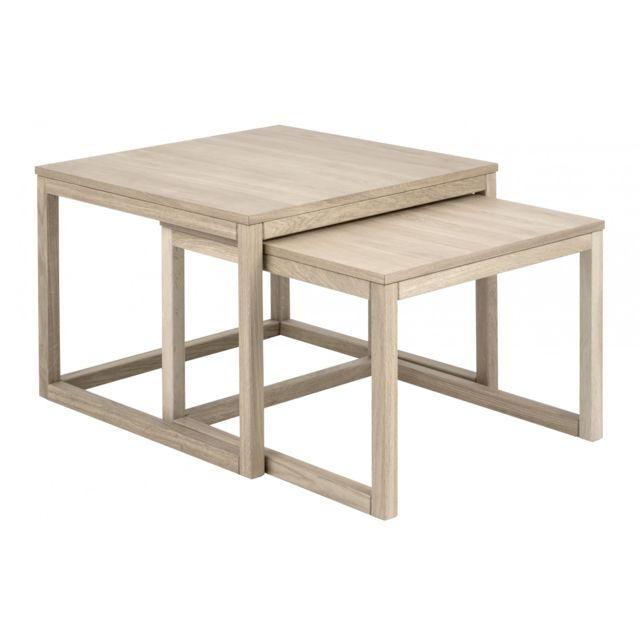 HELLIN Table basse CORNER Gigogne en chêne 70cm