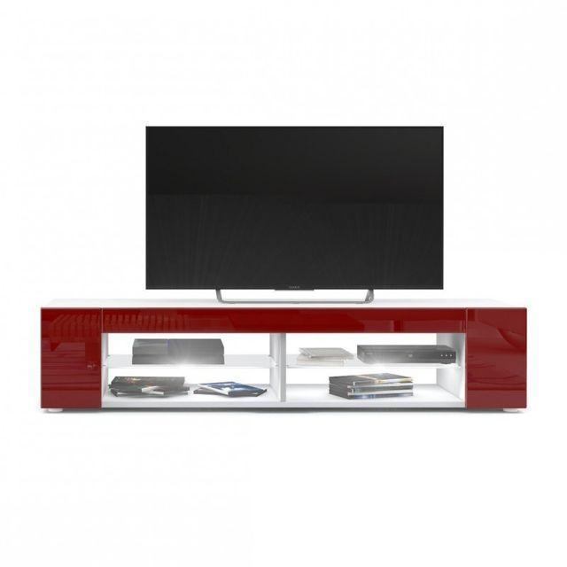 Mpc Meuble Tv blanc mat Façades en bordeaux laquées led Blanc