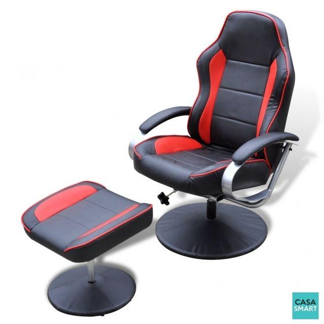 Casasmart Fauteuil Hamilton en simili cuir avec repose pied noir et rouge