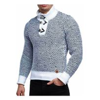 Beststyle - Pull homme col haut blanc