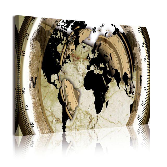 dekoarte 302 tableau moderne sur toile mont sur cadre en bois 1 pi ce carte avec boussole. Black Bedroom Furniture Sets. Home Design Ideas
