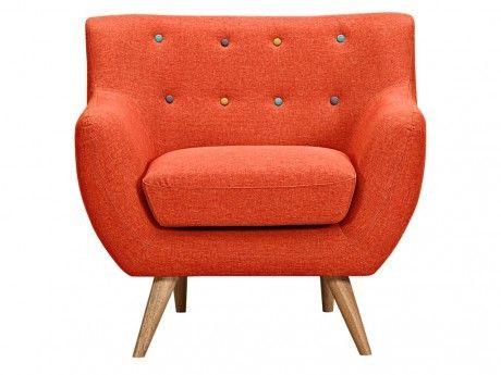 VENTE-UNIQUE Fauteuil en tissu SERTI - Orange sanguine avec boutons déco multicolores