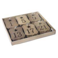 Chiffres de l'Avent étiquettes en bois 3,8 x 6 cm