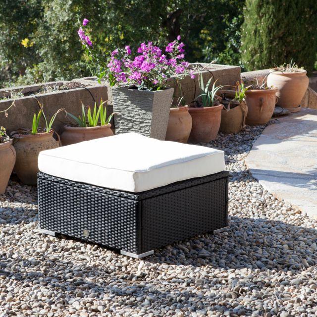 GreenPath - Table basse de jardin / Pouf Résine tressée noire ...