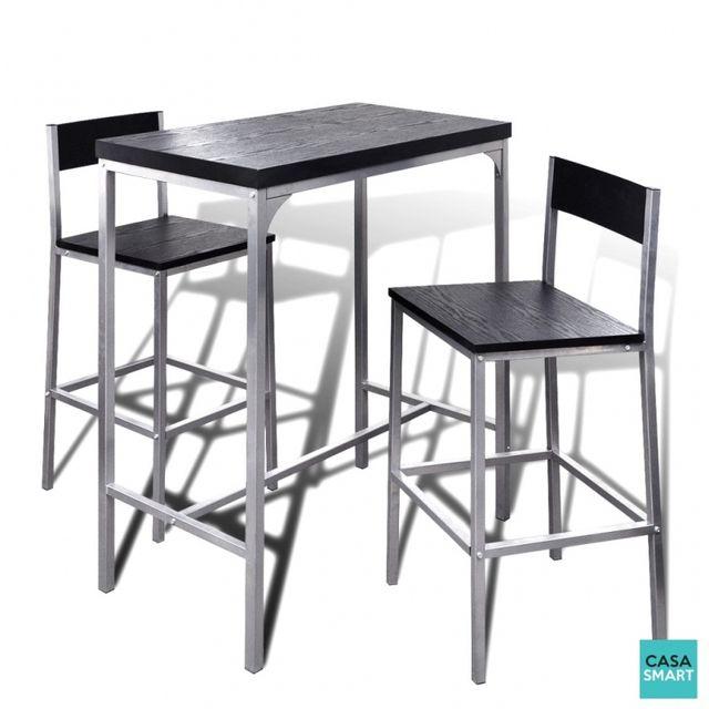 Casasmart Ensemble table haute en acier + 2 chaises