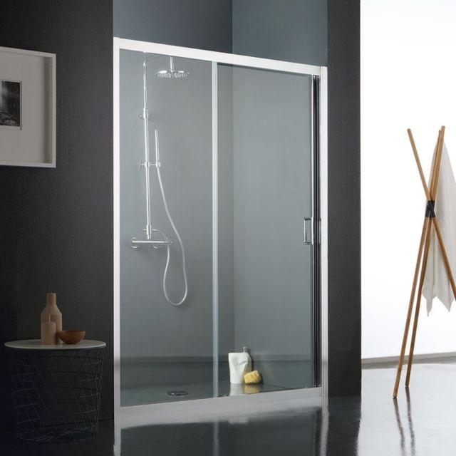 kiamami valentina paroi fixe avec paroi mobile reversible pour douche en niche 130 cm pas. Black Bedroom Furniture Sets. Home Design Ideas