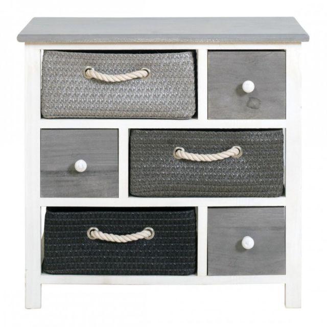 mobili rebecca meuble de rangement vimini commode 6 tiroir bois osier gris blanc country salon chambre blanc gris pas cher achat vente commode