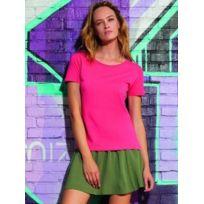 Fashion Cuir - Lot 3 tee shirt coton bio Couleur - rose, Taille Femme - 38