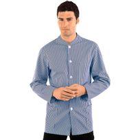 Isacco - Veste Homme Col Mao Coreana Blanc Rayé Bleu 100% Coton
