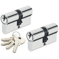 Bricorama - Double cylindre de porte 30 x 30 mm Paire de cylindres de sécurité s entrouvrant 4 clefs