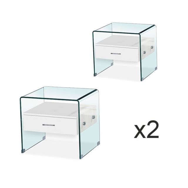 Meubler Design Lot de Table de chevet en verre Elsa Blanc