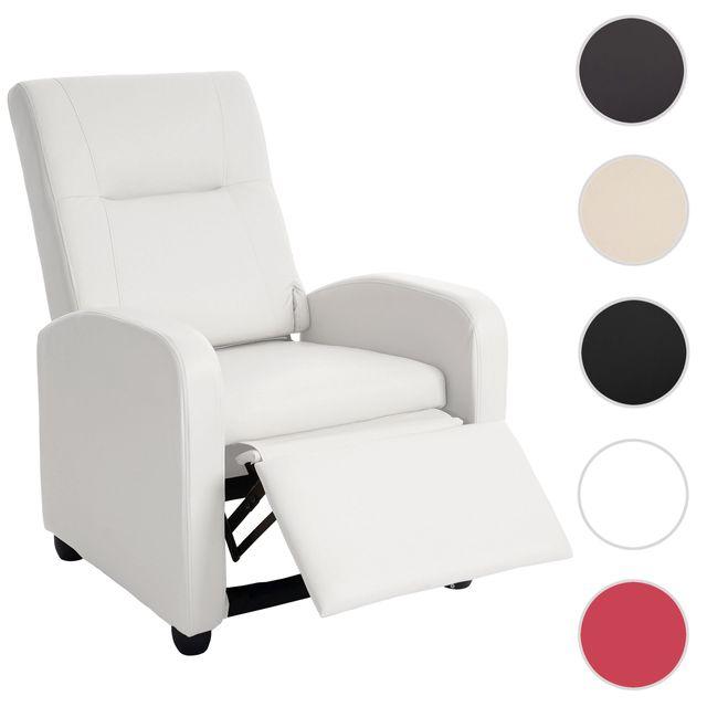Mendler Fauteuil de télé Denver Basic, fauteuil de relaxation, similicuir ~ blanc