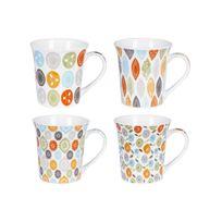 Table Passion - Mug en porcelaine 35cl coloris et motifs assortis - Coffret de 4 pièces Jaipur