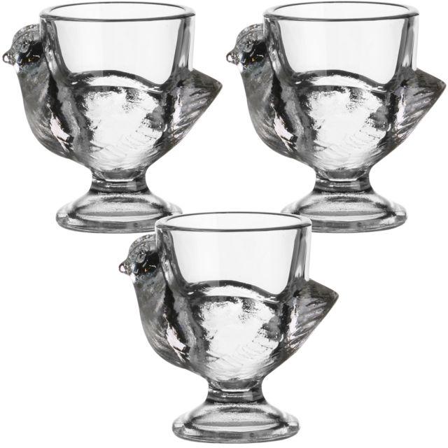 Promobo Set Lot 3 Coquetiers Forme Poule Luminarc Aspect Cristal En Verre