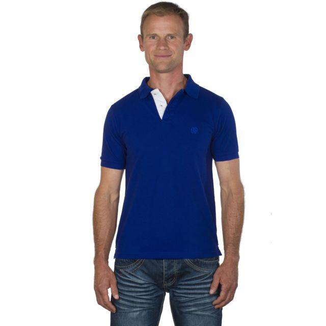UGHOLIN Polo homme droit coton piqué bleu électrique logo brodé ton sur ton