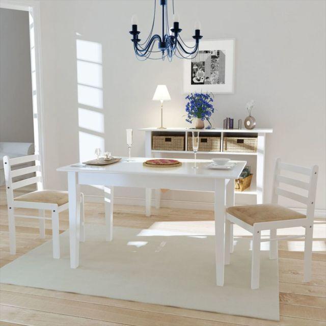 Icaverne Chaises de cuisine et de salle à manger edition Chaise de salle à manger 2 pcs Carrée Bois Blanc