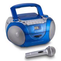 Soundmaster - Scd5350BL Boombox Fm Cd K7 micro batterie bleue