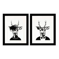 G&C Interiors - Cadre décoratif Tête de cerf noir et blanc bois et verre - Lot De 2 Trophy
