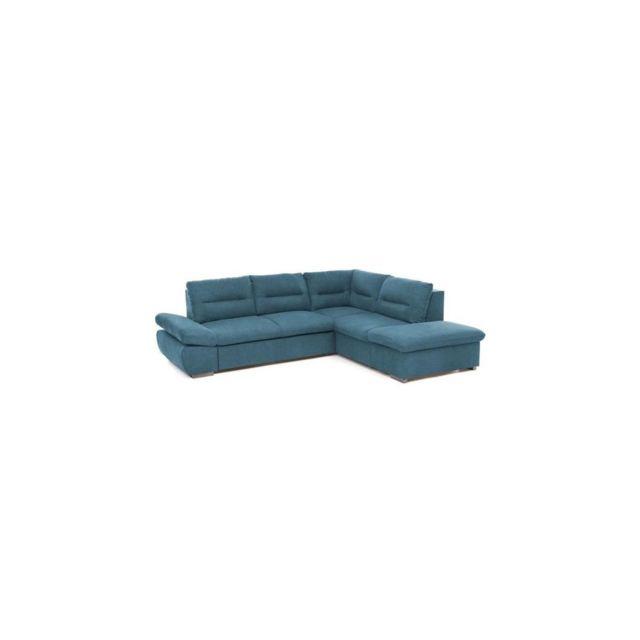 Sans Marque Lena Canape Dangle Convertible Droit 4 Places + Coffre De Rangement - Tissu Bleu - L 264 X P 213 X H 85 Cm