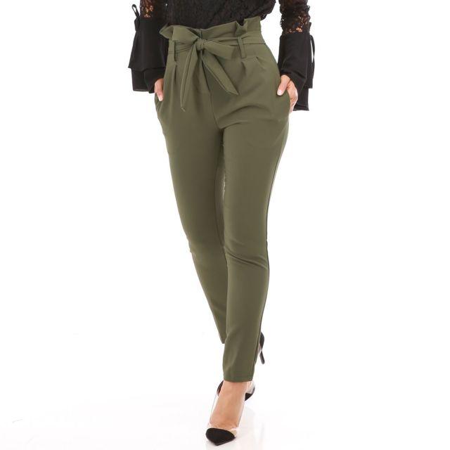 cbbf2b2c9beff Lamodeuse - Pantalon vert olive avec ceinture à nouer - pas cher ...