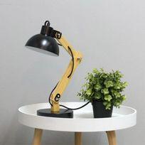 Touslescadeaux - Lampe de Bureau Design Architecte - 50 cm - Bois et Métal - Noir