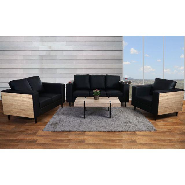 Mendler 3-2-1 garniture de canapés Nancy, canapé lounge, bois, aspect chêne ~ similicuir, noir
