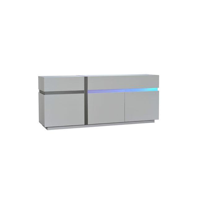 Bahut 3 portes 1 tiroir avec leds 200x50x84cm coloris blanc laqué