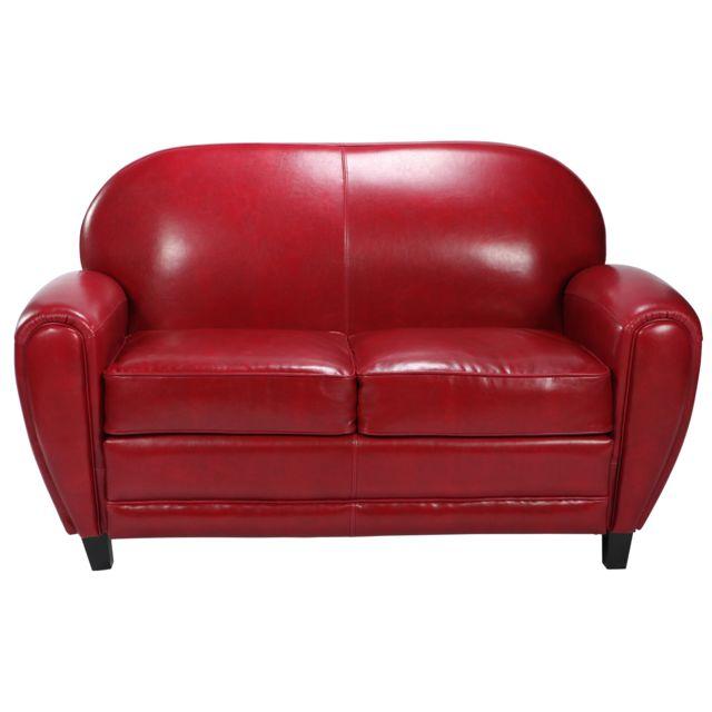Rendez Vous Deco Canapé Club 2 places rouge
