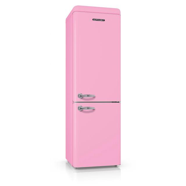 Schneider Scb250VP Réfrigérateur combiné inversé Vintage 250 litres 178 litres + 72 litres coloris rose - A