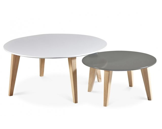 demeyere lot de 2 tables basses scandinave rondes pas. Black Bedroom Furniture Sets. Home Design Ideas