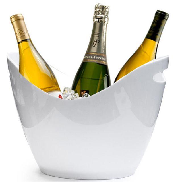 Touslescadeaux Seau à Champagne 3 Bouteilles - Pour Champagne, seau à glace - Blanc