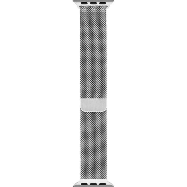 APPLE Bracelet Milanais argent 42 mm Bracelet Milanais en acier inoxydable pour Apple Watch - Fermoir magnétique - Compatible avec boîtier 42mm