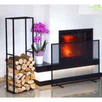 uk availability 100% high quality best place Ensemble range-bûches Cornel 120x40x20 cm et écran de cheminée  rectangulaire 100x72x15 cm en acier noir