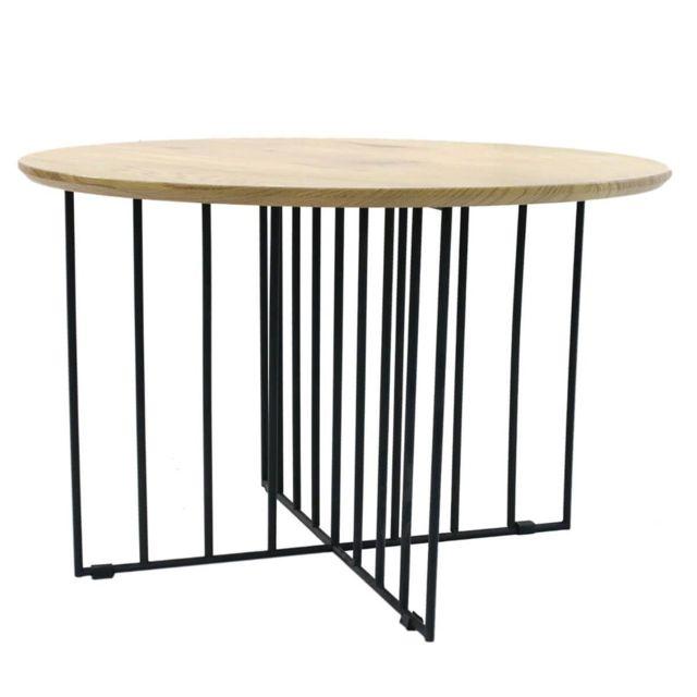Altobuy Madia Table Basse Ronde Pieds Metal Et Plateau Bois Pas Cher Achat Vente Meubles Tv Hi Fi Rueducommerce