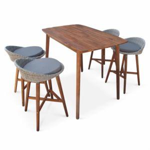 alice 39 s garden ensemble table bar mallorca en bois fsc et r sine tress e arrondie 4 tabourets. Black Bedroom Furniture Sets. Home Design Ideas