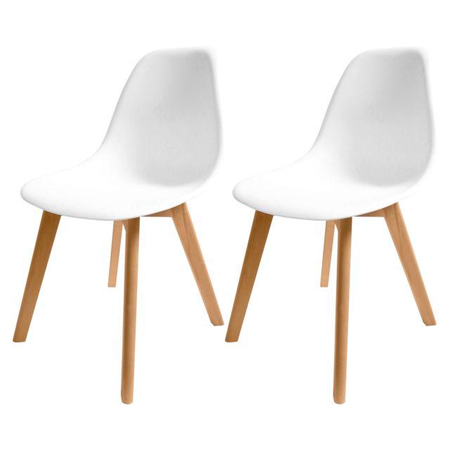 Rendez Vous Deco Chaise scandinave Randers blanche lot de